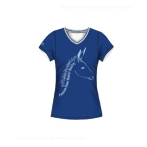 TS001-Forever-Home-Donkey-Rescue-Shirt-Women-Blue-Front